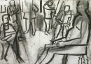 34‐2312 <b>candle lit life drawing</b>  charcoal 59.4 x 82 cms &#8208;Greg&nbsp;Poole