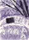 115‐6061<b>snowdrops, millstream & hazel</b>devonmonotype26.5 x 19 cms&#8208;Greg&nbsp;Poole