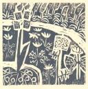 <b>spring woodland flora</b>    woodcut  32 x 32 cms  £90‐GregPoole