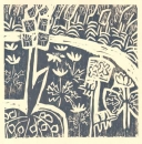<b>spring woodland flora</b>    woodcut  32 x 32 cms  £90&#8208;Greg&nbsp;Poole