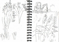 25&#8208;6457&emsp;<b>meadow fringe & digger</b>&emsp;bristol reservoirs&emsp;ink pen&emsp;A5 sketchbook&emsp;&#8208;Greg&nbsp;Poole