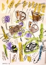174‐6167 <b>blue damselfly,bee, marbled white, darter, meadow browns & ringlet</b> bristol reservoirs wax crayon 59.4 x 42 cms (c.A2) £120‐Greg Poole