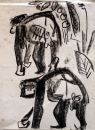 110‐5965 <b>chimpanzees 2</b> Kibale forest, Uganda charcoal 42 x 29.7 cms (A3) £70‐Greg Poole