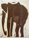 110‐5966 <b>elephant</b> kruger, south afrca monotype 53 x 42 cms £220‐Greg Poole