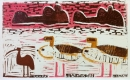 110‐5977 <b>hippos, egyptian geese & ibis</b> kruger, south afrca monotype 33 x 53 cms £250‐Greg Poole