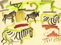 110‐6020 <b>zebra & wildebeest</b> kruger, south afrca gouache 29.7 x 42 cms (A3) £120‐Greg Poole