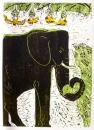 110‐6025 <b>chimpanzees</b> kruger, south afrca woodcut 77 x 53 cms £220‐Greg Poole