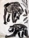 110‐6026 <b>chimpanzees 1</b> Kibale forest, Uganda charcoal 42 x 29.7 cms (A3) £70‐Greg Poole