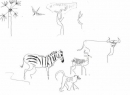110‐4688<b>baboon, zebra, impala, buffalo & bee-eater</b>A3‐GregPoole