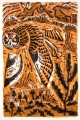 1‐5018 <b>short-eared owl & hares</b>  woodcut 60 x 40 cms £170&#8208;Greg&nbsp;Poole
