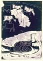 pin-tailed sandgrouse & goats ‐ monotype ‐ 36 x 26 cms ‐ £90‐GregPoole