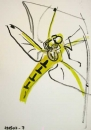 76‐4134 <b>black-tailed skimmer being eaten by spider</b>   A3 (42 x 29.7 cms) £POA‐Greg Poole