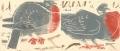 <b>wood pigeons</b>   woodcut  15 x 35 cms &#8208;Greg&nbsp;Poole