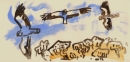 161‐6676 <b>booted eagle</b> extremadura, spain gouache 18 x 38 cms £60‐Greg Poole
