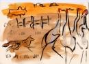 229‐7523sarus cranes & jackal <br /> bharatpur, india <br /> gouache <br /> 21 x 29.7cms (A4) <br /> £120‐GregPoole