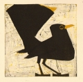 158‐6149 <b>blackbird</b>  monotype 22 x 22 cms SOLD‐Greg Poole
