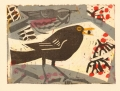 158‐6481  <b> blackbird & redwing on rowan</b> monotype 23 x 31 cms £150‐Greg Poole
