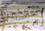 view across the plain - landscape with larks ‐ gouache & wax crayon ‐ A3 (29.7 x 42 cms) ‐ £120 ‐     ethiopia‐Greg Poole