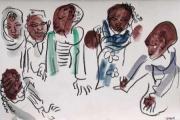 liben plains children 2 ‐ gouache & wax crayon ‐ 24 x 36 cms ‐ £90 ‐     ethiopia‐Greg Poole