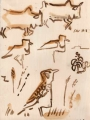 sidamo lark,black-winged lapwings & cattle ‐ gouache ‐ 24 x 18 cms ‐ £80 ‐     ethiopia‐Greg Poole