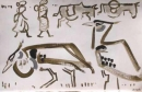 kori bustards & passing villagers ‐ gouache ‐ 24 x 36 cms ‐ £75 ‐     ethiopia‐GregPoole