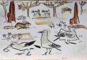 bushcrows, hornbill & ground squirrel ‐ gouache & wax crayon ‐ 24 x 36 cms ‐ £90 ‐     ethiopia‐Greg Poole