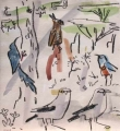 bush crows, starling, wood hoopoe & long-crested eagle ‐ gouache & wax crayon ‐ 30 x 28 cms ‐ £120 ‐     ethiopia‐Greg Poole