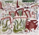 aloes, goats & weaver colony acacia ‐ gouache & wax crayon ‐ 30 x 28 cms ‐ £120 ‐     ethiopia‐GregPoole