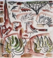 white-browed scrub-robin & white tailed swallows ‐ gouache & wax crayon ‐ 30 x 28 cms ‐ £120 ‐     ethiopia‐Greg Poole