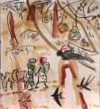 abyssinian scimitarbill & people returning from market ‐ gouache & wax crayon ‐ 30 x 28 cms ‐ SOLD ‐     ethiopia‐Greg Poole