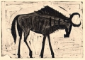 110‐6010 <b>wildebeest</b> kruger, south afrca monotype 24 x 36 cms £90‐Greg Poole
