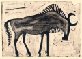 110‐6011 <b>wildebeest</b> kruger, south afrca monotype 24 x 36 cms £90&#8208;Greg&nbsp;Poole