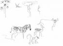 <b>baboon, zebra, impala, buffalo & bee-eater</b>    inkpen  A3  £50‐GregPoole