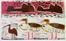 <b>hippos, egyptian geese & ibis</b>      monotype   33 x 53 cms   £300‐Greg Poole
