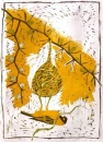 <b>masked weaver nest building</b>      reduction woodcut   73 x 52 cms   £270‐Greg Poole