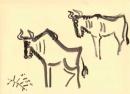<b>wildebeest</b>    gouache  A3 ‐GregPoole