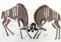 110‐5980<b>kudu sparring</b>Etosha, Namibiawoodcut59.4 x 84 cms (c.A1)£180‐GregPoole