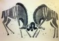 110‐5981<b>kudus sparring</b>Etosha, Namibiawoodcut59.4 x 84 cms (c.A1)£180&#8208;Greg&nbsp;Poole