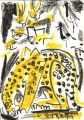 110‐5987 <b>leopard drinking at waterhole</b> Etosha, Namibia wax crayon 36 x 26 cms £110‐Greg Poole