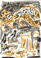 110‐5988 <b>leopard, plover & sandgrouse at waterhole</b> Etosha, Namibia wax crayon 36 x 26 cms £110&#8208;Greg&nbsp;Poole