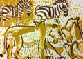 110‐5990<b>lion & zebra</b>Etosha, Namibiaacrylic76 x 57 cms£160‐GregPoole