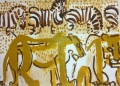 110‐5992<b>lion & zebra</b>Etosha, Namibiaacrylic70 x 53 cms£160‐GregPoole