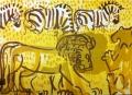 110‐5993<b>lion & zebra</b>Etosha, Namibiaacrylic76 x 57 cms£160‐GregPoole