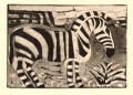 110‐5999 <b>mountain zebra</b> namibia monotype 14.5 x 21 cms (A5) £90&#8208;Greg&nbsp;Poole