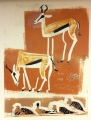 110‐6005 <b>springbok, sandgrouse & namaqua dove</b> Etosha, Namibia monotype size SOLD&#8208;Greg&nbsp;Poole