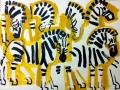 110‐6021<b>zebra studies</b>Etosha, Namibiaacrylic76 x 57 cms£160‐GregPoole