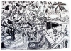 <b>barbados courtyard</b>      charcoal   59.4 x 80 cms   £250‐Greg Poole