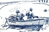 <b>barbados fishermen</b>      wax crayon   28 x 41 cms   £60‐Greg Poole