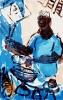 <b>barbados oistins fishmonger</b>    monoprint & gouache  59.4 x 39 cms  £150‐GregPoole