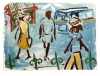 <b>barbados street scene 2</b>      oil on primed paper   42 x 57 cms   £220‐Greg Poole